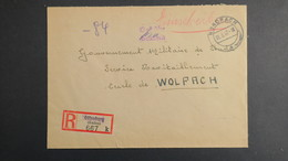 Lettre Recommandé Nordrach Mars 1947 Allemagne Occupation Française Pour Wolfach Gouvernement Militaire En Franchise - French Zone