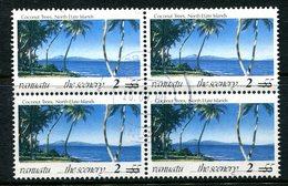 Vanuatu 1998-2000 Surcharges - 2v On 55v Coconut Trees Block Used (SG 791) - Vanuatu (1980-...)