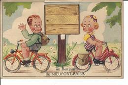 Nieuport Bains - Nieuwpoort Bad Carte à Système (enfants à Vélos) TOP - A Systèmes