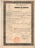 VP14.575 - MILITARIA - Préfecture De Police PARIS 1853 - Permis De Séjour - Mr A. MAYNIEL - Police & Gendarmerie