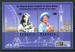 Vanuatu 2000 The Stamp Show 2000 - The Queen Mother's 100th Birthday MS MNH (SG MS828) - Vanuatu (1980-...)