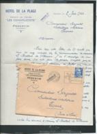 """Lac Entete Commerciale """"hotel De La Plage, Les Coquelicots Penestin , 56 - + Cpa De L'hotel   ( 3 Scans ) - Lx3301 - Marcophilie (Lettres)"""