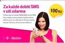 CZECH REPUBLIC - Girl On Phone, T Mobile Prepaid Card 100 Kc, Exp.date 20/03/18, Used - Czech Republic
