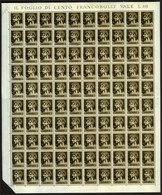 American Military Government Of Venezia Giulia. Sassone #1d. Complete Sheet Of 100 With Inverted Overprint. VF NH. - 7. Trieste