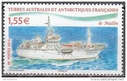 TAAF 2014 Yvert 691 Neuf ** Cote (2015) 3.20 Euro Navire Patrouilleur Le Malin - Neufs