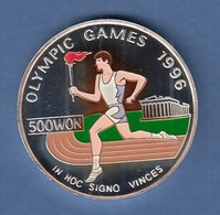 Nord-Korea 500 Won Silbermünze Olymp. Spiele Fackelläufer 1995 Coloriert Ag 999 - Münzen