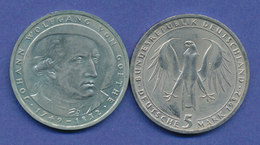 Bundesrepublik 5DM Gedenkmünze 1982, Johann Wolfgang Von Goethe - [ 7] 1949-… : FRG - Fed. Rep. Germany