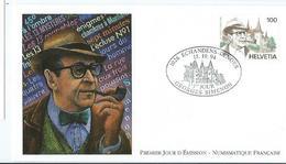 Enveloppe 1er Jour Suisse FDC Georges Simenon 1994 - FDC