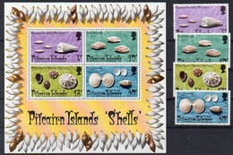 Pitcairn Islands  1974  MiNr. 137/ 140 + Block 1   **/ Mnh ; Meeresschnecken Und Muscheln - Meereswelt