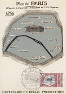 Carte   Maximum   1er   Jour   FRANCE   Centenaire  Du  Réseau  Pneumatique   PARIS   1966 - Cartes-Maximum