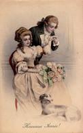 ART NOUVEAU / ART DÉCO: COUPLE De BELLE ÉPOQUE Et CHIEN - HUBERT ( ? ) - Nr. 535 / M. MUNK /  M. M. VIENNE ~ 1910 (aa487 - Künstlerkarten