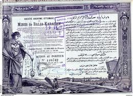 -TURQUIE-ACTION-MINES DE BALIA KARAÏDIN-Sté OTTOMANE- Constantinople-juil 1920-Illustrée - Mines
