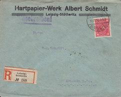 Germany Deutsches Reich HARTPAPIER-WERK ALBERT SCHMIDT Registered Einschreiben Label LEIPZIG-STÖTTERITZ 1922 Cover Brief - Deutschland