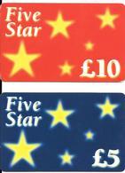 -2 CARTES-+PREPAYEE-GB-5£/10£-FIVE STAR-Plastic Fin--TBE-RARE - Royaume-Uni