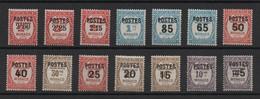 MONACO  -  1937  -   Timbres - Taxe  Surchargés , N° 140 ** à  153 **. - Neufs