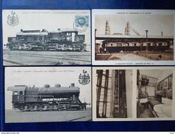 Lot De 8 Cpa De Locomotives,wagons Et Locomobile - Trains