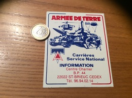 AUTOCOLLANT, Sticker «armée De Terre-Carrières Service National- ST-BRIEUC 22» (militaire, Char, Hélicoptère, Parachute) - Autocollants