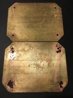 LOT VAN 2 KOPEREN GEDENKPLATEN VLAMERTINGHE VLAMERTINGE 1868  JEAN BAPTISTE MALOU & EMILIE DASONVILLE (  IEPER ESEN ) - Overlijden
