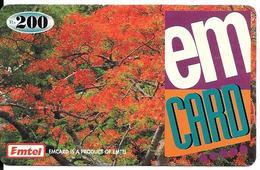 CARTE+-PREPAYEE-MAURICE-200Rs-EMTEL-Arbre FLAMBOYANT En Fleurs-Plastic Fin-TBE-RARE - Mauritius