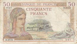 Billet 50 F Cérès Du 16-2-1939 FAY 18.22 Alph. D.9721 - 1871-1952 Anciens Francs Circulés Au XXème