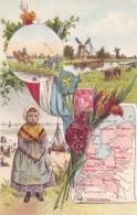 Holland Netherlands, Artist Images Map Flag Stamp Country Scenes Mills, C1900s Vintage Postcard - Netherlands