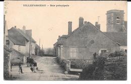 Cpa Villefargeau - Rue Principale ./ Cachet Auxerre - Groupement De Bétail - Station Magasin . - France