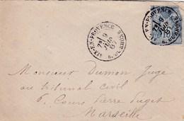 PSC De Aix-en-Provence (13) Pour Marseille (13) - 9 Juin 1887 - Timbre YT90 - CAD Rond Type 15 & 17 Bis - Storia Postale