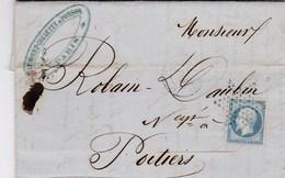 LAC De Paris (75) Pour Poitiers (86) - 30 Avril 1855 - Timbre YT14 + Ob. étoile - CAD 15 + Ambulant - Luzarches (95) - Postmark Collection (Covers)