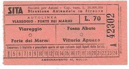 Biglietto Autobus SITA Firenze Linea Viareggio Forte Dei Marmi O Fossa Abate Vittoria Apuana Lire 70 Anni 60 - Bus