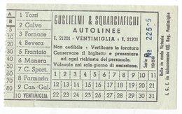 Biglietto Autobus Autolinee Guglielmi & Squarciafichi Linea Ventimiglia Torri 1959 - Bus