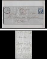7275 RARE LAC 1862 N°14B Napoleon 20c TB Pc 3226 St Pal De Mons Haute Loire Indice Rare St Etienne Loire France Lettre - Marcophilie (Lettres)