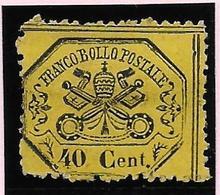 Italian States STATO PONTIFICIO Papal States 40 C SHINY PAPER PERFORATED Without Point After 40 Senza Punto - Kerkelijke Staten