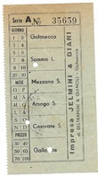 Biglietto  Impresa Jelmini & Giani Golasecca  Linea  Golasecca Gallarate Anni 50 - Bus