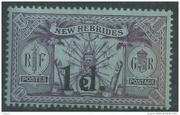 Nouvelles Hébrides N° 66 X Timbre Surchargé 1 D. Sur 2 S.. Légende Anglaise  Trace De Charnière  Sinon  TB - Légende Française