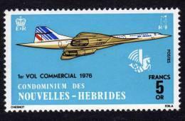 Nouvelles Hébrides N° 424 X Concorde 1er Vol Commercial Paris-Dakar Légende  Françaisetrace De Charnière Sinon  TB - Légende Française