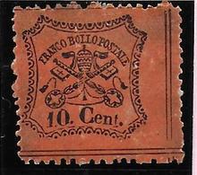 Italian States STATO PONTIFICIO Papal States10 CENT PERFORATED SHINY PAPER - Etats Pontificaux