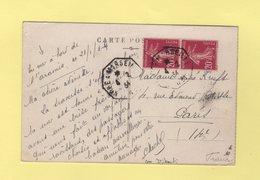 Poste Maritime - Kobe A Marseille - 4-2-1934 - A Bord De L'Aramis - Carte De Djibouti - Marcophilie (Lettres)