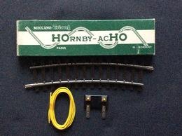 HORNBY-acHO MECCANO-TRIANG 1/2 Rail Courbe Grand Rayon A Uns Coupure+1 Plaque Connexion Et 1 M De Fil  Ref. 7680 - Rails