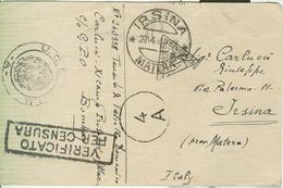 MILITARE ITALIANO PRIGIONIERO CAMPO XI-G.P.O.-BOMBAY(INDIA)-1942-C.P.FRANCHIGIA-CENSURA-IRSINA(MATERA), - 1939-45