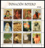 A335. KOLUMBIEN. 2001. MI#: 2155-2166. USED CTO SHEET. BOTERO'S PAINTINGS- FOLDED, NO DAMAGED STAMPS - Colombia
