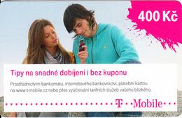 CZECH REPUBLIC - Couple On Phone, T Mobile Prepaid Card 400 Kc, Exp.date 13/07/16, Used - Czech Republic