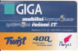 CZECH REPUBLIC - GIGA, Twist By Paegas Prepaid Card 400 Kc(thin Plastic), Exp.date 03/06, Used - Czech Republic