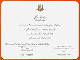 Carton D' Invitation JEAN TIBERI Maire De Paris - Soirée à L'occasion Nouvel An 1996 Animation Jazz Claude Bolling 75004 - Faire-part