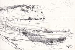 """76 ÉTRETAT - CPM - """"Barques Sur Fond De Falaise D'Aval"""" - Dessin André Lesage - 1984 - Etretat"""