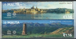 Malta. Scott #  MNH Set Of 2. UNESCO World Heritage. Joint Issue With Kyrgyzstan. 2018 - Joint Issues