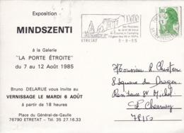 """76 ÉTRETAT - CPM - Exposition MINDSZENTI - Galerie """"La Porte Étroite"""" - Place Du Général De Gaulle - Août 1985 - Etretat"""