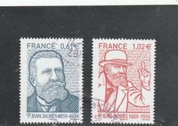 FRANCE 2014 DYPTIQUE JEAN JAURES OBLITERE YT 4869 + 4870  -                              TDA275 - France