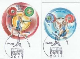 FRANCE 2011 ISSU DU BLOC HALTEROPHILIE OBLITERE 1ER JOUR SUR FRAGMENT YT 4598 + 4599 - France