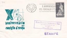 Italy Cover 1959 Perugia X Anniversario Consiglio D'Europe (DD21-23) - 1946-.. Republiek
