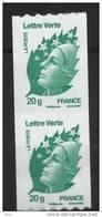N° 608 Marianne De Beaujard Verte Auto Adhesif Roulette 2011  Faciale Lettre Verte 20g X2 - Frankreich